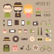 Hipster vector colorful style elements and characters icons set for retro design. Infographic concept background. Illustration in flat style. — Stock Vector #53384881