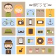 Hipster vector colorful style elements and characters icons set for retro design. Infographic concept background. Illustration in flat style. — Stock Vector #53384941