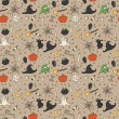 Happy Halloween. Seamless pattern with pumpkins, skulls, cats, spiders web, ghosts, monsters, witch hat. Trick or treat. Vector illustration. Background. — ストックベクタ #53510577