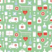 Seamless pattern of medical and health vector colorful icons set. Design elements. Illustration in flat style. — Vettoriale Stock