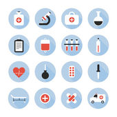Medical and health vector colorful icons set. Design elements. Illustration in flat style. — Stock Vector