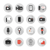 Set of flat colorful vector journalism icons. Mass media. Communication. Illustration consists of computer, news, reporter, camera, microphone, radio. Infographics design web elements. — Stock Vector