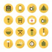 Set of flat colorful vector camping equipment symbols and icons. — Stock Vector