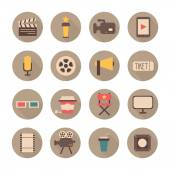 Set of movie design elements and cinema icons in flat style. Vector illustration. — Stock Vector