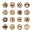 Hipster vector colorful style elements and characters icons set for retro design. Infographic concept background. Illustration in flat style. — Stock Vector #53892835