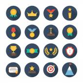 Award icons. Vector colorful set of prizes and trophy signs. Design elements. Illustration in flat style. — Stock Vector