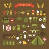 Military and war icons set. Army infographic design elements. Illustration in flat style. — Stock Vector