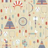 Seamless pattern of vector colorful ethnic set with dream catcher, feathers, arrows and american indian chief headdress in native style. Decorative elements. Tribal native American set of symbols. — Stockvector