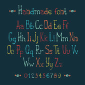 Simple colorful hand drawn font. Complete abc alphabet set. Vector letters and numbers. Doodle typographic symbols. — Stock Vector