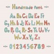 Simple colorful hand drawn font. Complete abc alphabet set. Vector letters and numbers. Doodle typographic symbols. — Stock Vector #55372963