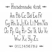Simple monochrome hand drawn font. Complete abc alphabet set. Vector letters and numbers. Doodle typographic symbols. — Stock Vector