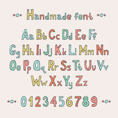 Simple colorful hand drawn font. Complete abc alphabet set. Vector letters and numbers. Doodle typographic symbols. — Vector de stock