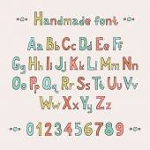 Simple colorful hand drawn font. Complete abc alphabet set. Vector letters and numbers. Doodle typographic symbols. — Stok Vektör
