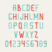 Simple colorful font. Complete abc alphabet set. Vector letters and numbers. Doodle typographic symbols. — Vetorial Stock