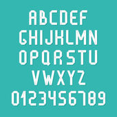 Simple colorful font. Complete abc alphabet set. Vector letters and numbers. Doodle typographic symbols. — Vector de stock
