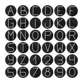 Simple monochrome font. Complete abc alphabet set. Vector letters and numbers. Doodle typographic symbols. — Stok Vektör