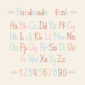 Simple colorful hand drawn font. Complete abc alphabet set. Vector letters and numbers. Doodle typographic symbols. — Vettoriale Stock
