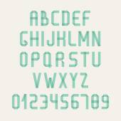 Simple colorful font. Complete abc alphabet set. Vector letters and numbers. Doodle typographic symbols. — Stok Vektör