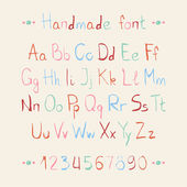 Simple colorful hand drawn font. Complete abc alphabet set. Vector letters and numbers. Doodle typographic symbols. — ストックベクタ