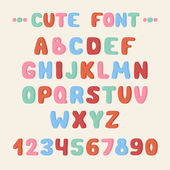 Simple colorful hand drawn font. Complete abc alphabet set. Vector letters and numbers. Doodle typographic symbols. — Vetorial Stock