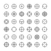 Set of different flat vector crosshair sign icons. Line simple symbols. Target aim symbol. Circles and rounded squares buttons. — Stock Vector