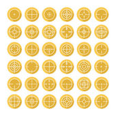 Set of different flat vector crosshair sign icons with long shadow. Line simple symbols. Target aim symbol. Circles and rounded squares buttons. — Stock Vector