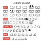 Set of  line simple washing instruction symbols .Laundry icons in flat style. Clothing care. Vector illustration. — Stock Vector