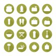 Set of  silhouette pictogram camping equipment symbols and icons with long shadow.  Design elements. Illustration in flat style. — Stock Vector #57258073