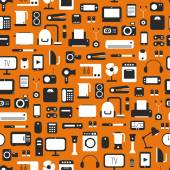 Seamless pattern of electronic devices and home appliances colorful icons set in flat style. Template vector elements for web and mobile applications. — Stock Vector