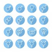 Sexual orientation gender web icons,symbol,sign in flat style with long shadow. Male and female combination. Graphic vector elements set. — Stock Vector