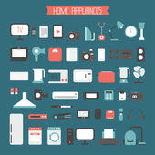 Set of electronic devices and home appliances colorful icons in flat style. Template vector elements for web and mobile applications. — Stock Vector