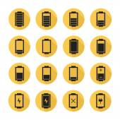 Battery web icons,symbol,sign in flat style with long shadow. Charge level indicators. Vector illustration. — Vector de stock