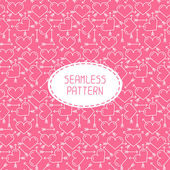 Romantic line seamless pattern with hearts. Beautiful  vector illustration. Background. Endless texture can be used for printing onto fabric and paper or scrap booking. — 图库矢量图片