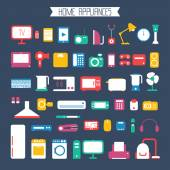 Set of electronic devices and home appliances colorful icons in flat style. Template vector elements for web and mobile applications. — Stock vektor