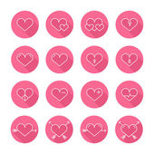 Set of heart icons,symbol,sign in flat style. Hearts collection. Elements for design. Vector illustration. — Stock Vector