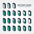 Battery web icons, symbol, sign and design elements in isometric style. Charge level indicators. Vector illustration. — Stock Vector #59174361