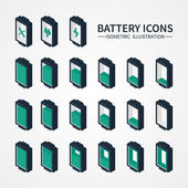 Battery web icons, symbol, sign and design elements in isometric style. Charge level indicators. Vector illustration. — Stock Vector