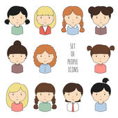 Set of colorful female faces icons. Funny cartoon hand drawn faces sketch for your design. Collection of cute woman avatar. Businesswoman. Trendy doodle style. Vector illustration. — ストックベクタ