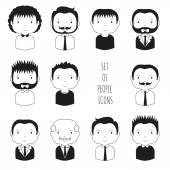 Set of monochrome male faces icons. Funny cartoon hand drawn faces sketch pictogram for your design. Collection of cute man avatar. Businessman. Trendy doodle style. Vector illustration. — Stock Vector