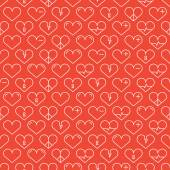 Romantic line seamless pattern with hearts. Beautiful vector illustration. Background. Endless texture can be used for printing onto fabric and paper or scrap booking.   — Stock Vector