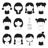 Set of monochrome female faces icons. Funny cartoon hand drawn faces sketch pictogram for your design. Collection of cute woman avatar. Businesswoman. Trendy doodle style. Vector illustration. — Stock Vector