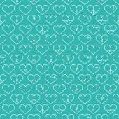 Romantic line seamless pattern with hearts. Beautiful vector illustration. Background. Endless texture can be used for printing onto fabric and paper or scrap booking. — Διανυσματικό Αρχείο