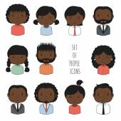 Set of colorful African-American people icons. Businessman. Businesswoman. Funny cartoon hand drawn blacks faces sketch for your design. Collection of cute avatar. Trendy doodle style. — Stock Vector
