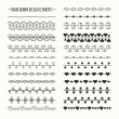 Hand drawn vector line border set and scribble design element. Valentine day vintage romantic pattern with hearts. Illustration. Trendy doodle style brushes. — Stock vektor #63928189