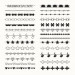 Hand drawn vector line border set and scribble design element. Hipster vintage fashion pattern with mustache. Illustration. Trendy doodle style brushes. — Stock Vector #63928273