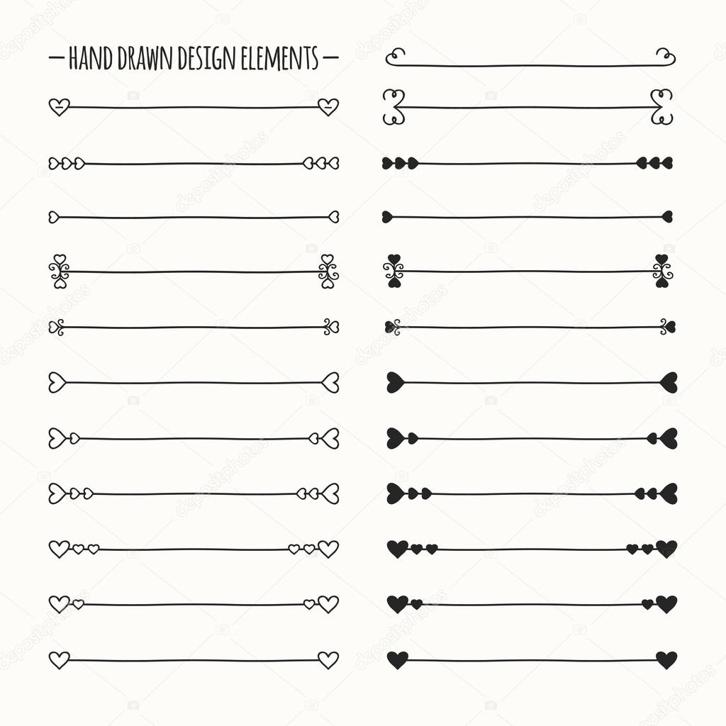 drawn vector line border set and scribble design element. Valentine ...