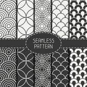 Set of monochrome fashion geometri seamless pattern with circles. Collection of paper for scrapbook. Vector background. Tiling. Stylish graphic texture for your design, wallpaper, pattern fills. — Stock Vector