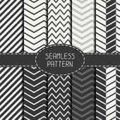 Set of monochrome fashion geometri seamless pattern with chevron. Collection of paper for scrapbook. Vector background. Tiling. Stylish graphic texture for your design, wallpaper, pattern fills. — Stock Vector
