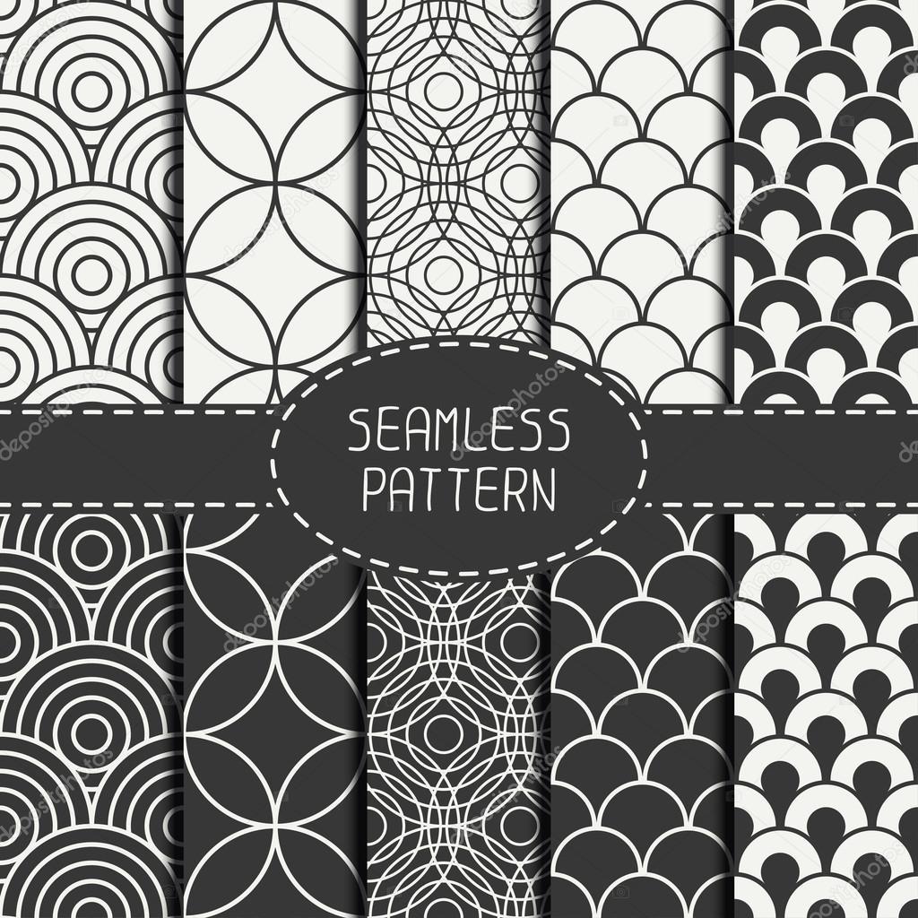 satz von monochromen mode geometri nahtlose muster mit. Black Bedroom Furniture Sets. Home Design Ideas