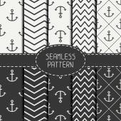 Set of monochrome marine geometri seamless pattern with anchor. Collection of paper for scrapbook. Vector background. Tiling. Stylish graphic texture for your design, wallpaper, pattern fills. — Stock Vector